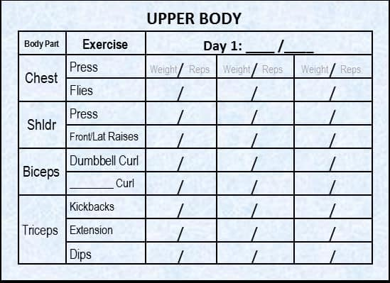 Upper Body Workout Log